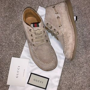 Gucci beige suede leather boots GG 32 youth sz  1